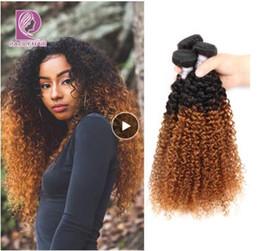 28 polegadas tecer cabelo castanho on-line-Ombre Cabelo Brasileiro 1B / 30 Marrom Kinky Encaracolado Feixes de Cabelo Wefts Weave Extensões de Cabelo Humano 10-28 Polegada Pacotes