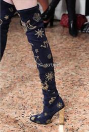 botas altas de terciopelo muslo Rebajas Terciopelo Señoras Botas altas Botas de tacón plateadas de metal Botas largas Moda bordado Luna y estrella sobre la rodilla Mujer