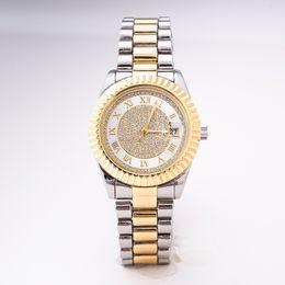Фирменные подарочные коробки онлайн-золотые женские часы высокого качества с полным бриллиантом модные женские свадебные часы женские часы марки с подарочной коробкой