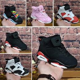 Calzado real online-Nike Air Jordan 6  Zapatillas de baloncesto para niños Zapatillas de deporte de oliva Blanco azul Negro Ejército Verde pelota de baloncesto Entrenador 6 6s Calzado deportivo 28-35