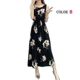 2019 maxi vestido de algodón Vestido bohemio de las mujeres del verano de las señoras maxi ocasional floral de la playa vestidos de algodón boho flor vintage largo femenino elegante sundress maxi vestido de algodón baratos