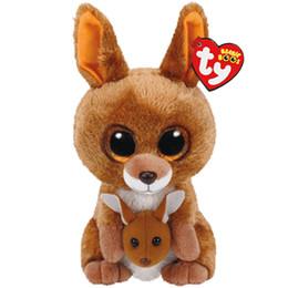 Шапочка коричневая онлайн-Ty Beanie Boos Милые животные плюшевые игрушки Кукла Коричневый кенгуру