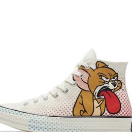 2019 Converse x Off white Zapatos de lona Tom y Jerry Diseñador de lienzo de moda casual Zapatillas de skate Zapatillas Zapatillas de lona altas 35-41 desde fabricantes