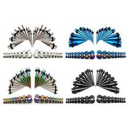 Lot de 36 acrylique noir Jauges Kit spirale conique Plug 14G-00G civière Expander