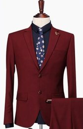new men formal pant style Coupons - Red Notch Lapel Two Buttons Formal Fashion Terno Masculino High Quality Costume Made 3Pieces(Jacket+Pant+Tie)New Style Men Suits