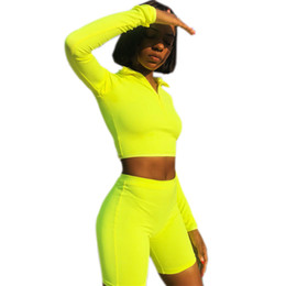 2020 serré pull-over Femmes 2 Pièce Ensembles Workout Yoga Costumes À Manches Longues Demi Zipper Up Solide Couleur Pull Serré Leggings Femme Slim Fit Costumes promotion serré pull-over