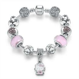 braccialetti di fascino del gattino Sconti 16-21CM Kitty fascini fit pandora braccialetto di stile argento perline per bambini braccialetto gioielli fai da te accessori per i bambini di natale regalo delle donne con la scatola