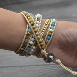 einzigartige armbänder für armbänder Rabatt Meer lässig Stränge wickeln Retro Frauen Armband handgefertigte Perlen ethnische gemischte Mode Charme Kunstleder vergoldeten Stein einzigartig
