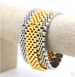 crown logo 15mm 22cm Мужчины из нержавеющей стали ремешок для часов ремешок браслет ремешок для часов браслет браслеты черный серебряный золотой хип-хоп ремешок от