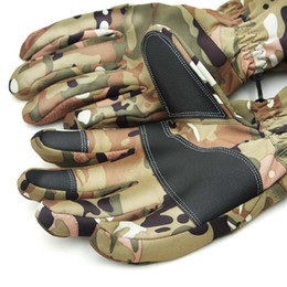 guanti in pelle sci Sconti Fashion- guanti tattici, touch screen del camuffamento vera pelle, tenere al caldo Outdoor Sport Sci antivento Army Men