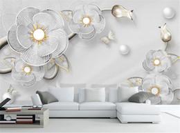3D Luxury Diamond Flower Европейские Ювелирные Изделия ТВ Фон Стены 3d Цифровая Печать Обои от