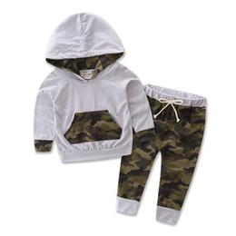 2019 camouflage hose baby Babykleidung Sets Herbst Baby Boy Kleidung 3 STÜCKE Outfits Set Baumwolle Camouflage Mit Kapuze Tops Hosen Neugeborenen rabatt camouflage hose baby