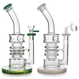 """Glas wasserleitung große bubbler online-Hochwertige 9,5 """"Glas Bong Wasserpfeife Dab Rig mit 4mm Quarz Banger und Glasschale Big Bubbler Recycler Bong Ölbohrinsel"""