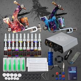 v tipps Rabatt Komplettes Tattoo Kit Nadeln Doppelte Maschinenpistole Stromversorgung Tintenspitze Tattoo Set 110 V 220 V
