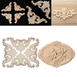 Applikation Aufkleber Rose Floral Holz Geschnitzt Unlackiert Hohe Qualität