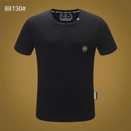 2019 принт сплошной цвет филипп футболка мода досуг фитнес круто о воротник мужчины медведь футболка лето с коротким рукавом мужская одежда M-3X # T134 от