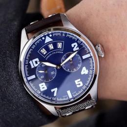 Reloj de acero color azul online-Nuevo 46mm IW502703 Pilot Little Prince Steel Case Blue Dial Fecha grande del día Reloj automático para hombre Marrón Correa de cuero Gents Relojes deportivos 4 Color