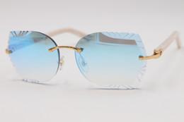 Brazos de gafas de sol online-2019 Envío Gratis Nuevas gafas de sol sin montura ópticas Lentes talladas Nuevo 8200761 Gafas de sol sin montura de brazos aztecas LENTE de espejo unisex CALIENTE