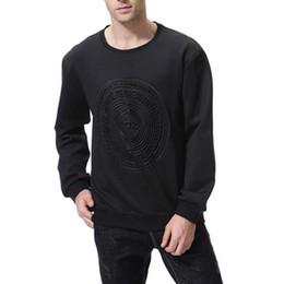 maglietta manica piena nera degli uomini Sconti Autunno nuovo manica lunga da uomo Tshirt solido O-Collo Pullover manica completa Top Disc Pattern nero Abbigliamento Slim Om Vendita