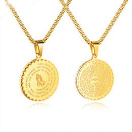 medalha redonda Desconto Homens Mulheres Pingentes De Aço Inoxidável Cristãos Oração Rodada Medalhas Escrituras Colares Retro Moda Senhora Colar de Jóias