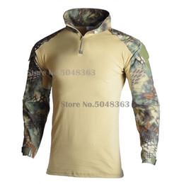 Armée camo en Ligne-Camouflage Soldats Combat Army T-Shirt Hommes T-shirt Tactique Force Multicam Camo Chemise À Manches Longues Chasse Gear
