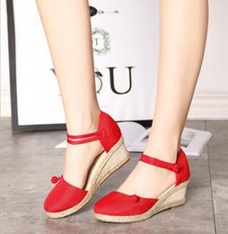 Donne coreane sandalo casual online-2019 nuovi sandali delle donne coreane zeppe casual confortevoli sandali del commercio estero fibbia sandali femminili di canapa fibbia