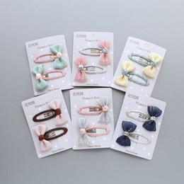 Nastro a righe di raso online-2Pcs / lot Grid Stripe Satin Bow con nastro BB Clip per ragazze per bambini Handmade Boutique Mini Hairpin accessori per capelli
