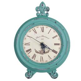 ornamenti orologi Sconti Orologi da tavolo retrò in legno nostalgico Orologi da tavolo rotondi per la casa Ornamento Orologio da tavolo semplice Statuetta artigianale Regalo retrò classico