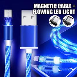 Для Apple Android Type C Micro USB кабель зарядного устройства Магнитный проточный светодиодный свет дата-линия зарядки мобильного телефона для iphone Samsung с CE от