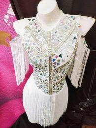 frühling karneval kleider Rabatt 2019 Fashion Mirror Strass Outfit Sängerin DJ Bühnenshow Silver White Fringes Bodysuit ds Performance Kostüm