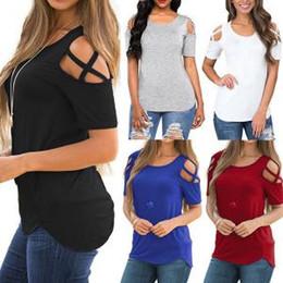 e8a69f0dce8 Китайские Женщины открытый плечевой ремень футболка Женская мода с коротким  рукавом топ женщины чистый цвет топы