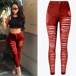 Wholesale Сексуальные женщины Уничтоженные рваные джинсовые джинсы Узкие брюки с высокой талией Узкие брюки карандаш с высокой талией Черный Белый Синий