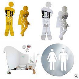 дверные зеркала Скидка Acrylic Bathroom Wall Sticker Women Men Toilet Sign Mirror Stickers Creative Removable 3D Sticker Washroom Door Sign Decal