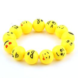emoji armbänder Rabatt Gelb Emoji Bead Armband Lächeln Gesicht Armbänder Armreif Schmuck niedlichen Cartoon Hüftgurt für Kinder Mädchen
