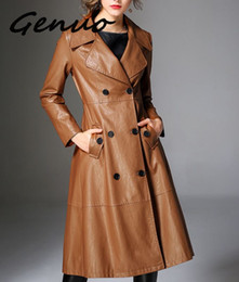 pu trench coat donne Sconti Genuo New Cool Long Long Jacket 2019 New Spring Women Cintura allentata PU Pelle Windbreaker Trench Coat Slim Autumn Jacket NS939