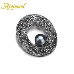 Broches oval on-line-Ajojewel oval em forma de cristal preto strass broche com cinza simulado pérola broches estilo vintage atacado