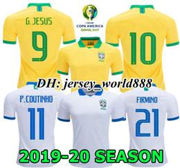 Camisola longa xícara on-line-G.JESUS COUTINHO camisa de futebol 19 20 America Cup WILLIAN longe de casa FIRMINO MARCELO PAULINHO Brasil 2019 2020 Camisa de manga longa de futebol