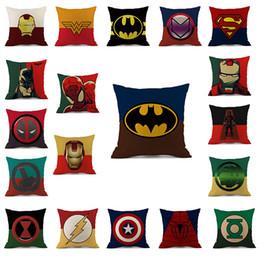Cuscini di vendicatori online-Superhero Avengers federa cartone animato federa Hulk Deadpool ferro uomo stampa cuscino copertina lino federa cartone animato tessili per la casa C822