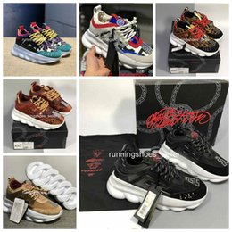 Top scarpe designer marche online-chain reaction designer shoes Commercio all'ingrosso 2019 Reazione a catena di alta qualità Mens Brand Fashion Designer di lusso Sneakers Trainer da donna Running Scarpe casual 36-45