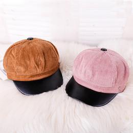 4574e9fd1a3fc Corduroy Beret Female Autumn Winter Hats For Girls Octagonal Cap Fashion  Letter S Leather Stitching Beret Gorras Boina Feminina