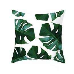 Cojines tropicales online-Nueva Decoración Tropical Imprimir Cactus Monstera Funda de Cojín de Poliéster Throw Almohada Sofá Hogar Decorativo Funda de almohada Sin almohada