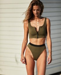 f2b4b0269d 2019 Zipper Sport Two Pieces Lady Bikini Nylon Sexy Swimsuit Bathing Suits  Swimwear Wading Exercise With Chest Pad A0836