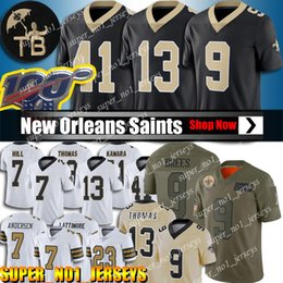 Brees camisa de futebol on-line-9 Drew Brees Jersey 13 Michael Thomas New Orleans Saints