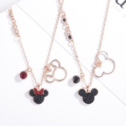 korean pendants Coupons - Swarovski new rose gold inlaid Austrian crystal cute mouse pendant necklace Korean version of the network celebrity fashion boutique jewelry