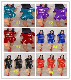 Frauen velours sportkleidung online-2019 Frauen Champions Shorts Trainingsanzug Kurzarm T-shirt Tops + Shorts Hosen 2 STÜCKE Set Outfit CHAMP Sportbekleidung Sommer Jogger Anzug S-3XL A425