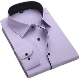 Camisas baratas de manga larga online-FillenGudd 2019 Moda de manga larga para hombres Camisas de vestir informales Ropa de hombres de negocios sociales con cuello negro Barato Alta calidad