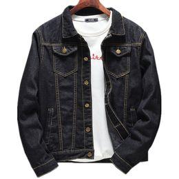 Lunga giacca di denim nera online-Autunno Nero Giacca di jeans Hip Hop Giacca Slim manica lunga da uomo Fashion Denim Top Youth M-5XL