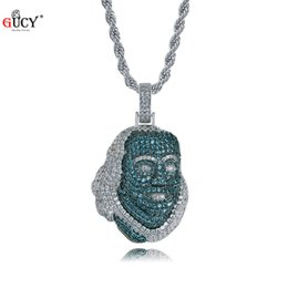 famous figures Promo Codes - GUCY New ICED OUT Franklin Famous Figure Pendant Necklace Cubic Zircon Stones Hip Hop Men Women Jewelry Gift
