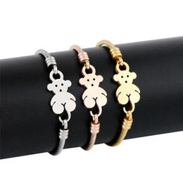 2019 edelstahl-bärenarmbänder Heißer verkauf einfaches design tier bär form armreif edelstahl silber gold rose gold farbe armband für frauen günstig edelstahl-bärenarmbänder