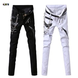 Jeans Hip Hop Uomo Hip Hop con Patchwork catena Punk Gothic Party Multi cerniere in pelle pantaloni Performance per l'uomo da jeans della catena punk fornitori